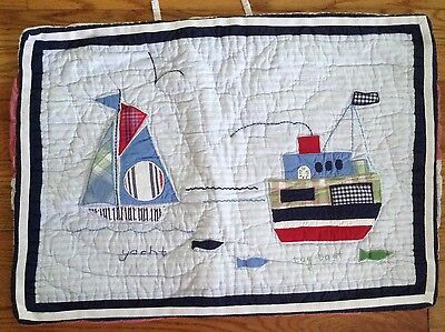 """Sweet 'pottery Barn Kids' Nautical Quilted Standard Pillow Sham~26 X 18""""~Nice!"""