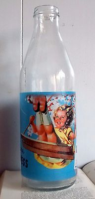 Kellogg's Rice Krispies Glass Advertising Milk Bottle, Kitsch, Retro Kitchen