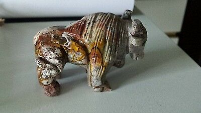 Stoned carved  Buffalo Statue South Dakota one of a kind rose geode style