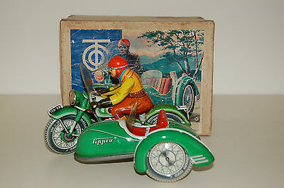 Vintage Tipp&Co Motorcycle with Sidecar, Boxed, Us zone Germany, circa 1959.