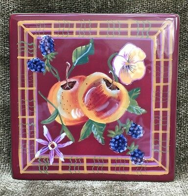 "Multiple Available Capriware Ceramic Trivet Hot Plate 6"" Square Fruit Flowers"