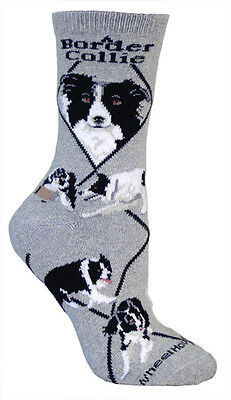 Border Collie Dog Breed Gray Lightweight Stretch Cotton Adult Socks