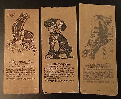 1940's Kellogg's Gro-Pup Dog ,Seal And Hippo Iron On Transfer Lot Of 3 Shredded
