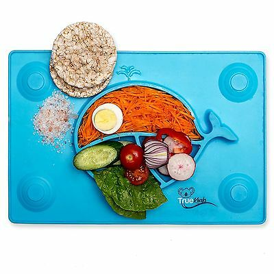Happy Ezpz Baby Food Placemat One-Piece Silicone Child Divided Dish Bowl Plates