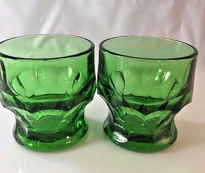 "Vintage Emerald Green Anchor Hocking Georgian Juice Glasses (2) 3"" Tall"