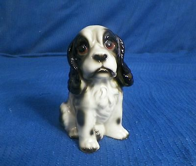 Vintage Ceramic Baby Spotted Spaniel Dog Figurine Made In Japan