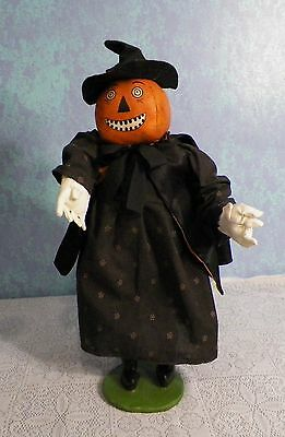 "Vintage Holloween Hand Made Pumpkin Head Witch Doll 20"" T- Esc Trading Co. 2002"