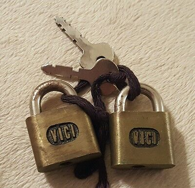 lot of 2 small mini Vici brand padlocks with keys