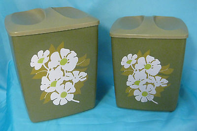 Set of 2 Vintage Green Canisters