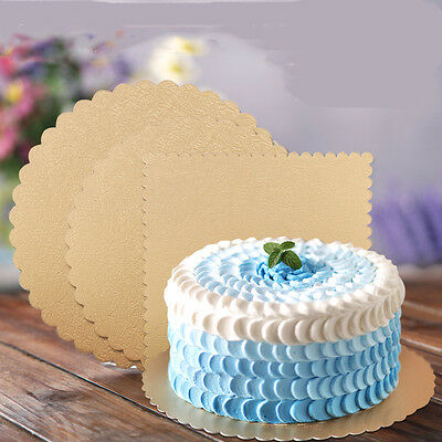 6 pcs: Cake Cardboard Base golden 6'/ 8' inch round with tab handle square board
