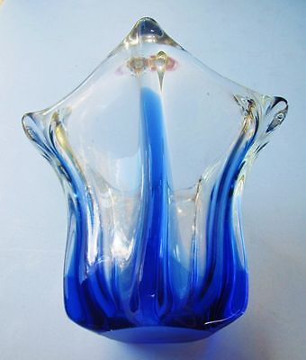 Beautiful Vintage  Murano Blue & Clear Art Glass Five Sided Vase