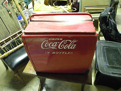 Vintage Red coca cola metal cooler, made by Cavalier, raised letters