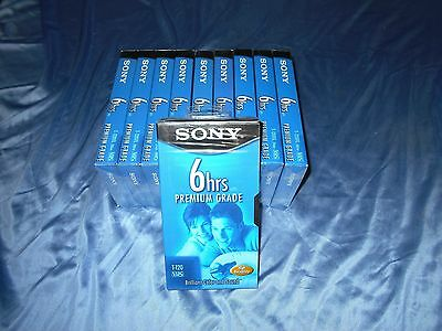 10 Pack Sony Premium 6 Hour T-120 Blank VHS Tapes - Brand New Sealed