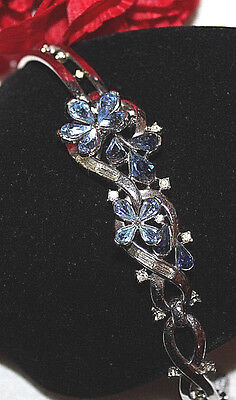 Rare Crown Trifari Signed Bracelet With Two Tone Blue Stones-Excellent-Pat.pend.