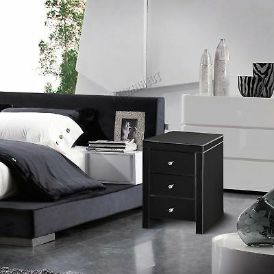 FoxHunter Mirrored Furniture Glass 3 Drawer Bedside Cabinet Table MBC01 Black