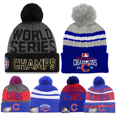 2016 World Series Champs Chicago Cubs Knit Cap Beanie Hat Gold Rally Brand New