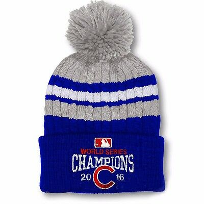 2016 World Series Champs Chicago Cubs Knit Cap Beanie Hat Gold Rally Blue R3