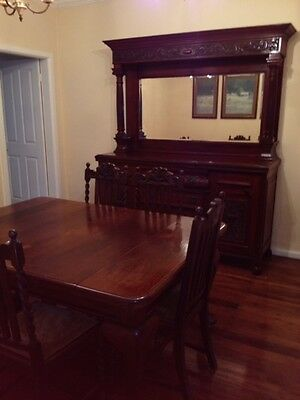 Circa 1890 Sideboard + Dining Table and Chairs