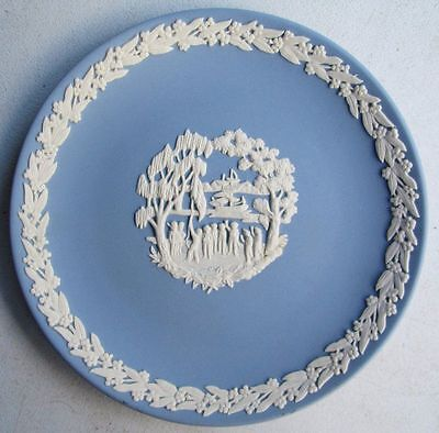 "Vintage Wedgwood Blue Jasper Ware Commemorative Plate ""the First Settlement"""