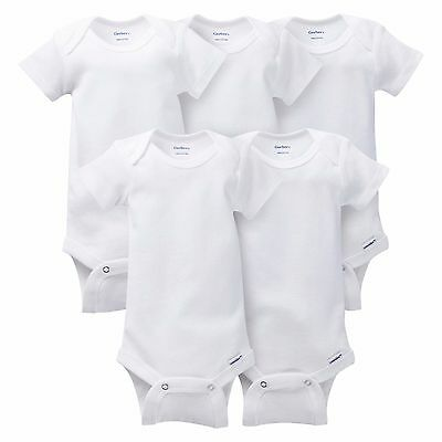 Gerber 5 Pack Short Sleeve Onesies One Piece Snap White Size Newborn-3T