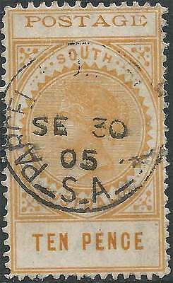 SOUTH AUSTRALIA 1902-12 LONG TYPE POSTAGE(thin) 10d Dull Yellow ACSC67 fine used