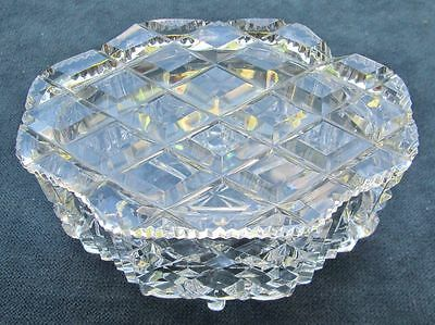 Pretty Diamond Cut Crystal Lidded Dressing Table Trinket Container