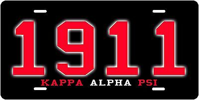 Black Kappa Alpha psi License Plate 1911