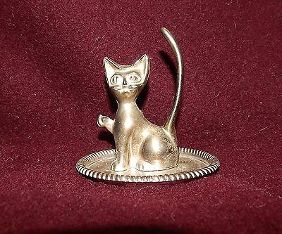 "Vintage Silver Plate CAT Statue Figurine 3.5"" Tall"