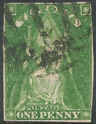 VICTORIA 1856 Queen on Throne 1d Green Imperforate ACSC6 cv$40 lovely fine used