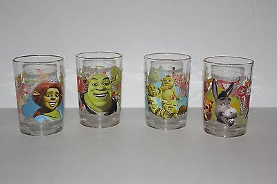 Set of 4 Dreamworks Shrek The Third Drinking Glasses McDonald's Collectible
