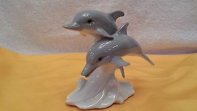 Xmas Gift Collectible Swimming Dolphins ...flawless Ceramic..price Reduced
