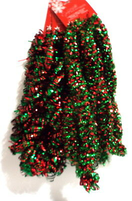 Jaclyn Smith 30ft Large Curly Garland Christmas Tidings Green & Red Mix