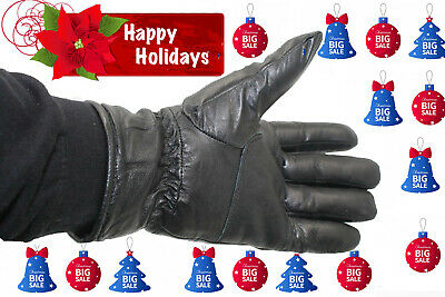 Mens Lambskin Leather Dressing Driving/biker Winter Warm Gloves All Sizes