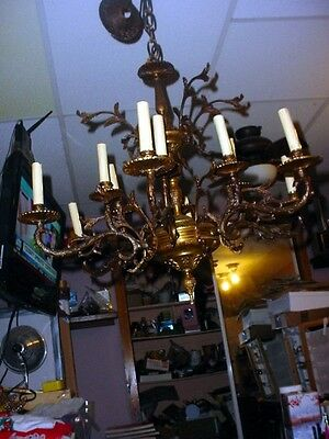 Antique Brass  Chandelier 12 Light 6 Arm Made in Spain Vintage ornate