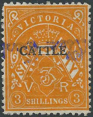 VICTORIA 1927-60 Stamp Duty 3/- Orange opted CATTLE fine used fc & scarce