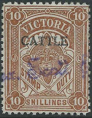 VICTORIA 1927-60 Stamp Duty 10/- Brown opted CATTLE fine used fc & scarce