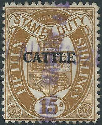 VICTORIA 1927-60 Stamp Duty 15/- Brown opted CATTLE fine used fc & very elusive