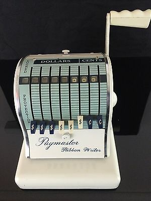 Vintage The Paymaster System 800 Check Ribbon Writer With Key Excellent Cond