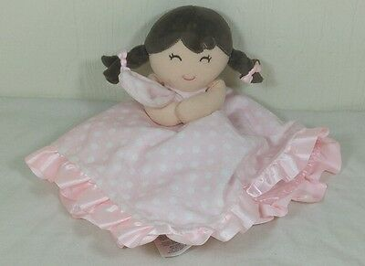 Carter's Girl Doll Pink White Dots Rattle Satin Security Blanket Plush Lovey