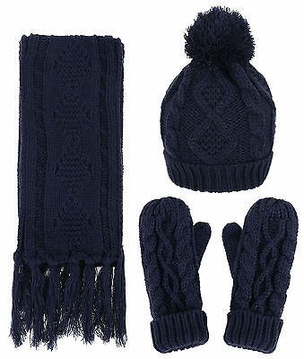Women 3 in 1 Soft Warm Thick Cable Knitted Hat Scarf and Gloves Winter Set