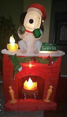 NEW Gemmy PEANUTS SNOOPY Lighted Christmas Fireplace Airblown Inflatable Outdoor