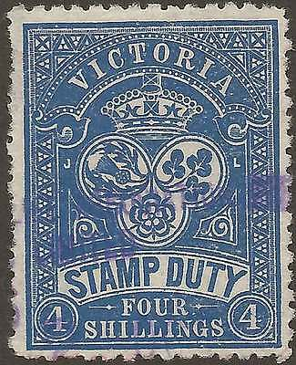 VICTORIA 1879-1900 STAMP DUTY 4/- Blue as ACSC F20 but BLUE fine mss cancel