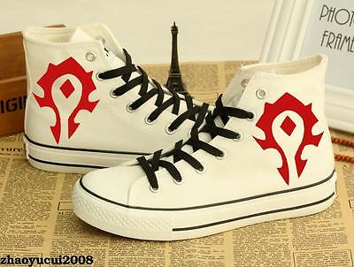WOW World of Warcraft High Canvas Shoes Casual Trainers Women Men Fashion White