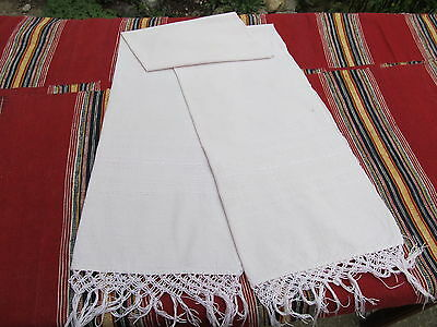 Old Primitive Antiques Hand Wooven Big Homespun Towel With  Light Pink Lace