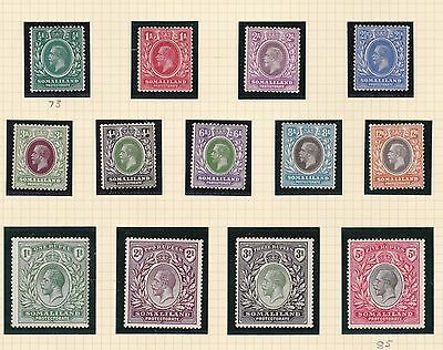 Somaliland 1921  S G   73 - 85  Set Of 13 To 5 R   M H  Cat £180