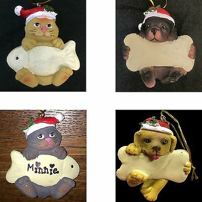 CAT or DOG CHRISTMAS ORNAMENT-w/Bone Fish-Decoration Pet Gift-PERSONALIZE-CHOOSE