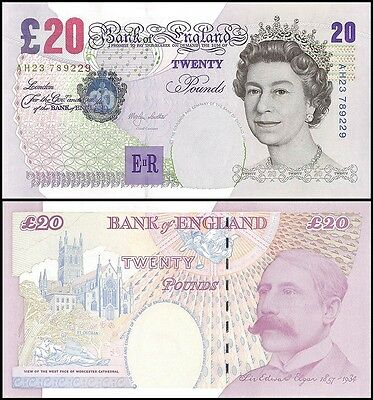 Great Britain England 20 Pounds, 1999-2003, P-390a,UNC,Queen Elizabeth II (QEII)