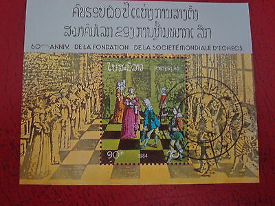 Laos - 1984 Chess - Minisheet - Unmounted Used - Ex. Condition