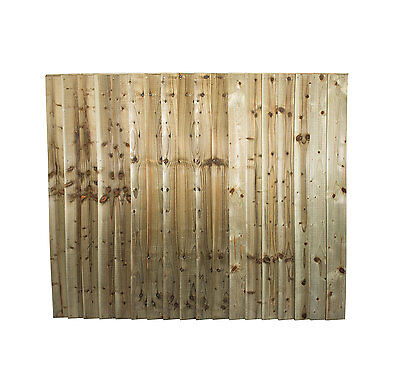 Fence Panels - Fully Framed Featheredge Pressure Treated  6'x5' - Green/Brown