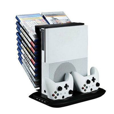 Stand Holder Cooling Fan Charging Station W/ USB Storage For XBOX ONE S Console